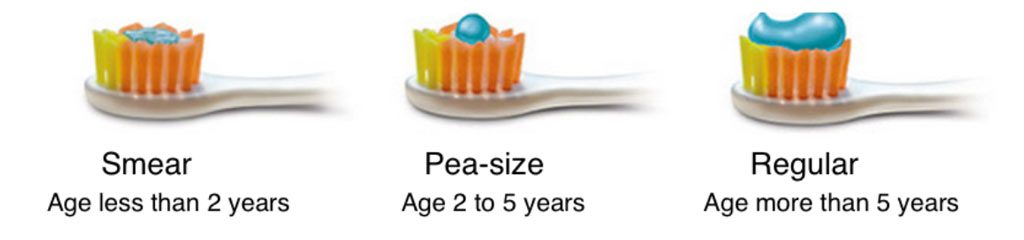 Brushing and Flossing Children's Teeth amount of toothpaste
