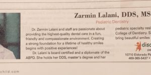 "Dr. Lalani is a 2018 ""Mom-Approved"" Dentists by DFW Child Magazine"